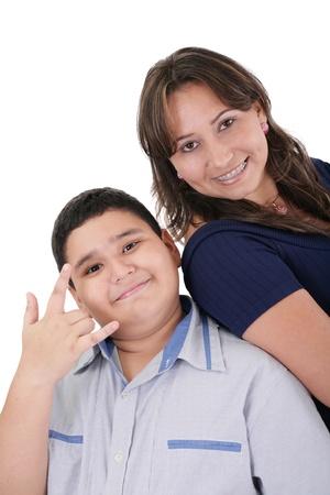 pre adolescent boy: Happy hispanic mother and son portrait