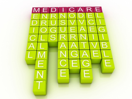medicare: Medicare Word Cloud Concept with great terms such as health Stock Photo