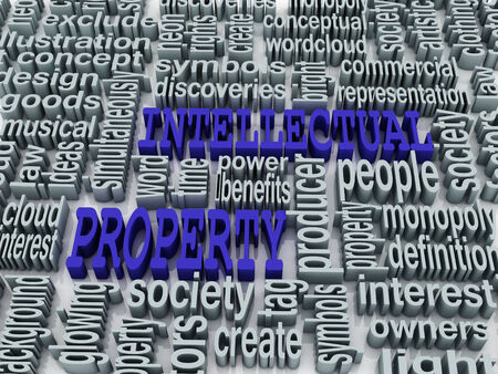 3d collage of Intellectual property and related words photo