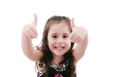 contentedness: Close up portrait of cute girl showing thumbs up.Isolated on white Stock Photo