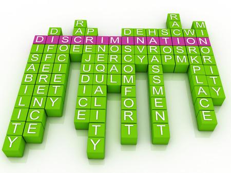 3d imagen Discriminatie woordwolk Stockfoto