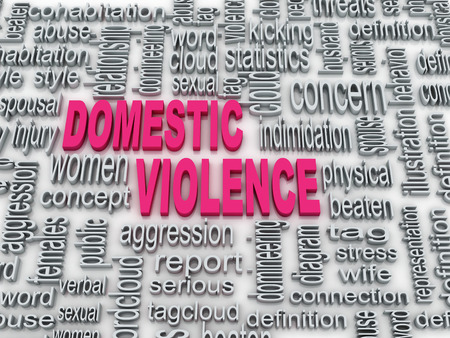 domestic abusive: 3d Concept diagram wordcloud illustration of domestic violence