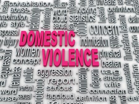 violencia intrafamiliar: Concepto 3d ilustración de un diagrama de wordcloud de la violencia doméstica Foto de archivo