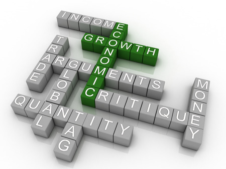 critique: 3d Background concept wordcloud illustration of economic growth Stock Photo