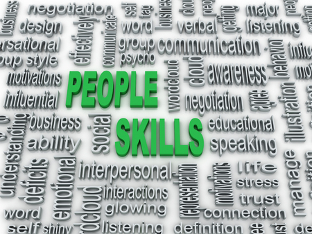 psycho social: 3d imagen, background concept wordcloud illustration of people skills