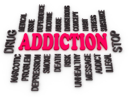 drug abuse: 3d Addiction message. Substance or drug dependence conceptual design