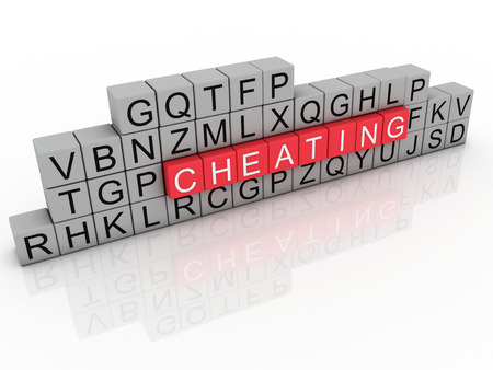 deceive: 3d Illustration of word cheating using alphabet cubes.