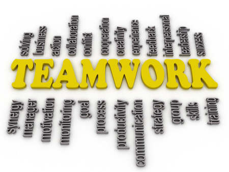 interpersonal: 3d imagen a word cloud of teamwork related items  Stock Photo