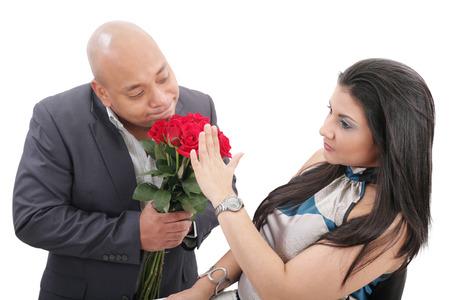 refusing: woman refusing apologies from her boyfriend Stock Photo