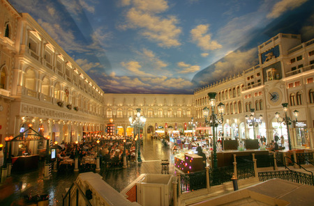 LAS VEGAS - CIRCA 2014: The Venetian Hotel on CIRCA 2014 in Las Vegas. St. Mark's Square at the Grand Canal Shoppes is surrounded by restaurants and shops. It is also the site of live costumed shows.