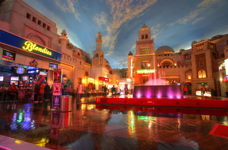 strip club: LAS VEGAS - CIRCA 2014: Miracle Mile Shops in Planet Hollywood hotel stylized as Arab town, decor showing the painted sky and restaurants on CIRCA 2014.