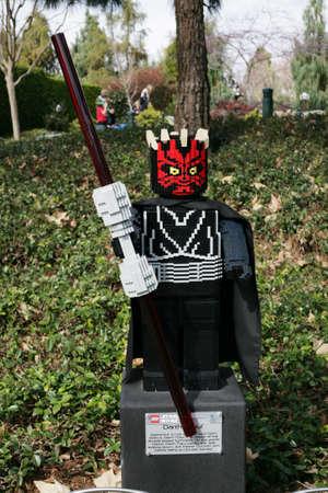 starwars: CARLSBAD, US, FEB 6: Star Wars Darth Maul Minifigure made with lego bricks at Legoland in Carlsbad, California on Feb 6, 2014.  Editorial
