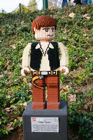 starwars: CARLSBAD, US, FEB 6: Star Wars Han Solo Minifigure made with lego bricks at Legoland in Carlsbad, California on Feb 6, 2014.
