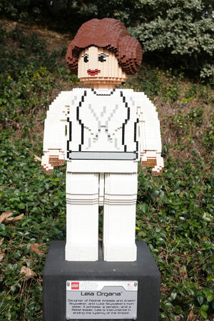 starwars: CARLSBAD, US, FEB 6: Star Wars Princess Leia Organa Minifigure made with lego bricks at Legoland in Carlsbad, California on Feb 6, 2014.