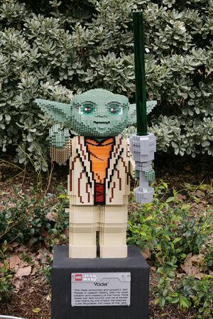 starwars: CARLSBAD, US, FEB 6: Star Wars Yoda Minifigure made with lego bricks at Legoland in Carlsbad, California on Feb 6, 2014.