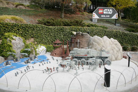 starwars: CARLSBAD, US, FEB 6: Star Wars Miniland at Legoland in Carlsbad, California on Feb 6, 2014. Guests can enjoy seven of the most famous scenes from the six live-action Star Wars movies, as well as a scene from the animated series Star Wars: The Clone Wars a