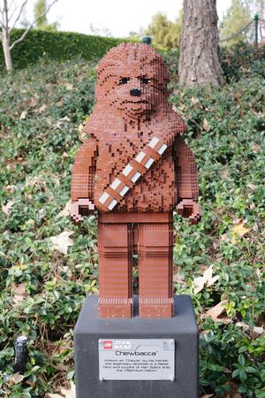 starwars: CARLSBAD, US, FEB 6: Star Wars Chewbacca Minifigure made with lego bricks at Legoland in Carlsbad, California on Feb 6, 2014. Editorial