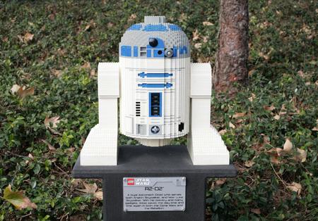 starwars: CARLSBAD, US, FEB 6: Star Wars R2-D2 Minifigure made with lego bricks at Legoland in Carlsbad, California on Feb 6, 2014.