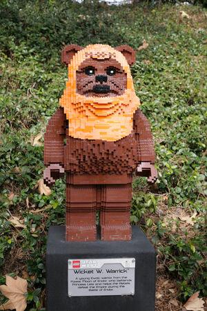 starwars: CARLSBAD, US, FEB 6: Star Wars Wicket W. Warrick Minifigure made with lego bricks at Legoland in Carlsbad, California on Feb 6, 2014. Editorial