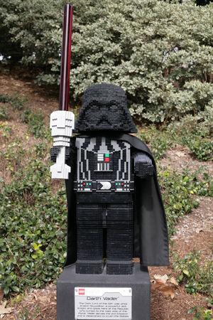 starwars: CARLSBAD, US, FEB 6: Star Wars Darth Vader Minifigure made with lego bricks at Legoland in Carlsbad, California on Feb 6, 2014.