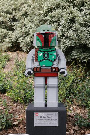 starwars: CARLSBAD, US, FEB 6: Star Wars Boba Fett Minifigure made with lego bricks at Legoland in Carlsbad, California on Feb 6, 2014. Editorial