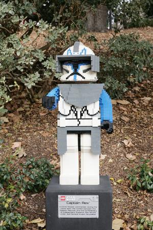 starwars: CARLSBAD, US, FEB 6: Star Wars Captain Rex Minifigure made with lego bricks at Legoland in Carlsbad, California on Feb 6, 2014.