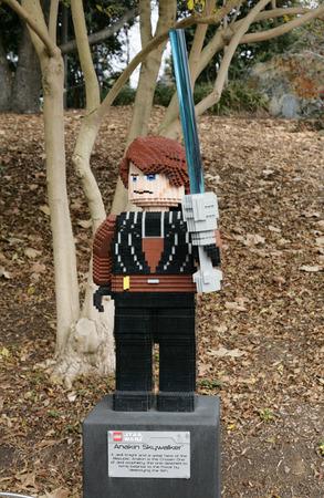 starwars: CARLSBAD, US, FEB 6: Star Wars Anakin Skywalker Minifigure made with lego bricks at Legoland in Carlsbad, California on Feb 6, 2014. Editorial