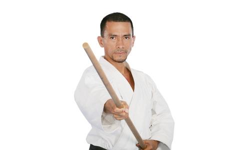 kata: Closeup isolated portrait of martial arts man exercising karate kata