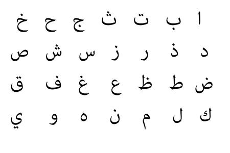 abc calligraphy:  Arabic alphabet