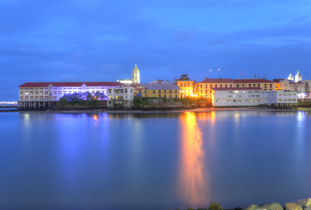 viejo: Panama City, Casco Viejo in the twilight Stock Photo