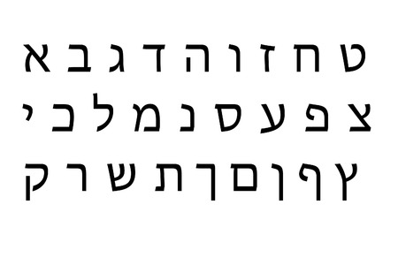 hebrew script: Hebrew Alphabet set Stock Photo