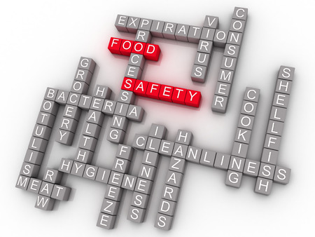 aseo: 3d Food Safety Palabra Nube Concepto