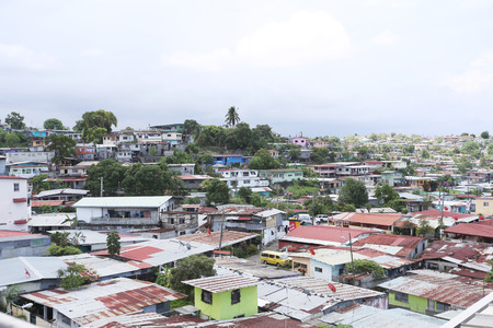 squatter: Aerial view of shanty towns in Panama City, Panama