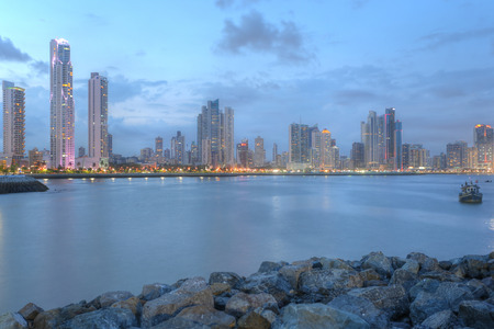 panama city: Panama City center skyline and Bay of Panama, Panama, Central America in the sunset