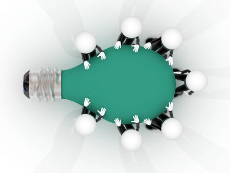 Group of 3d People Planning Ideas in a table of bulb photo