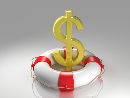 rescuing: Dollar sign in the lifebuoy Stock Photo