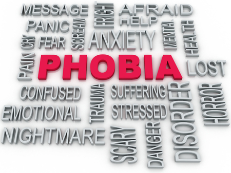 phobia: 3d Phobia symbol conceptual design isolated on white. Anxiety disorder concept