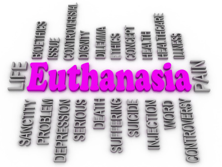 bioethics: Euthanasia issues. 3d imagen word concept Stock Photo