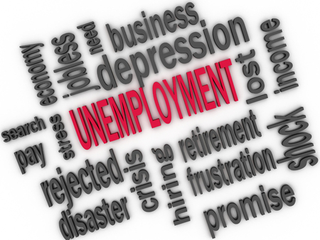 political and social issues: Unemployment concept. Jobless word cloud. 3d