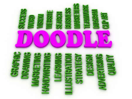marketers: 3d imagen Doodle Word Cloud Concept