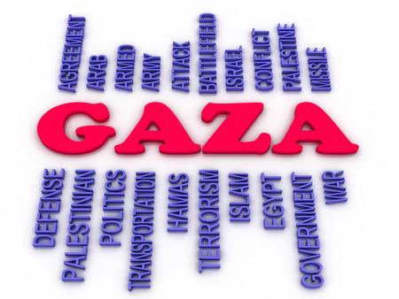 incursion: Image 3D de Gaza notion mot nuage fond