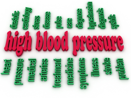 high blood pressure: 3d image High blood pressure e concept word cloud background