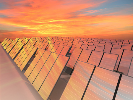 climate change: Many solar panels to receive energy with sun Stock Photo