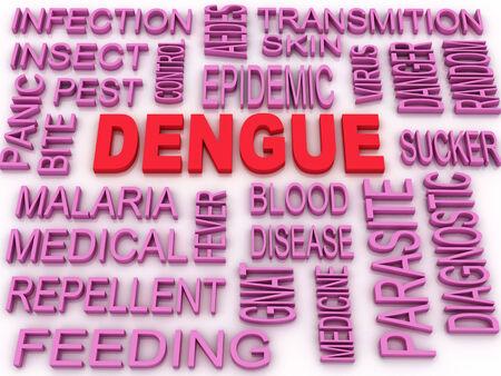 3d image Dengue concept word cloud background photo