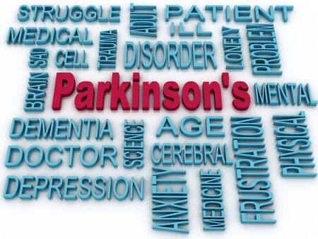 parkinson's disease: 3d Parkinsons disease symbol isolated on white. Mental health symbol concept