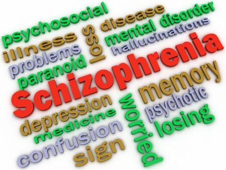 psychosocial: 3d image Schizophrenia concept word cloud background