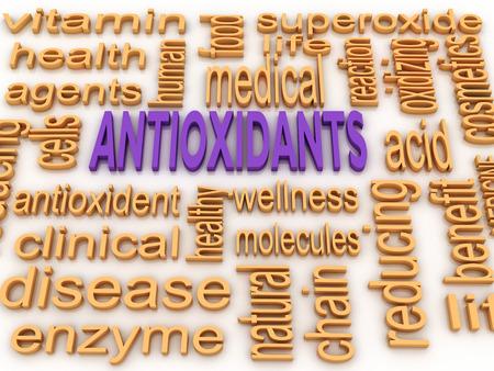 enzyme: 3d image Antioxidants concept word cloud background Stock Photo