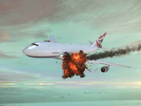explotion: Airplane with an explotion in the sky
