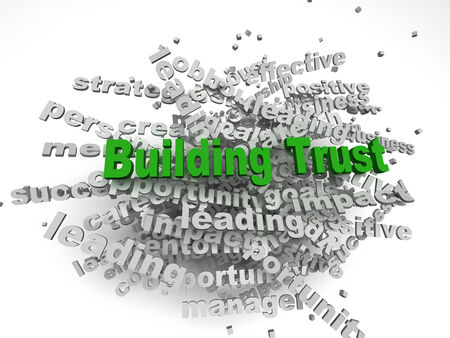 building trust: 3d imagen Building Trust concept in word tag cloud on white background