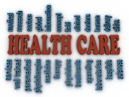 sciences: 3d image Health Care concept word cloud background